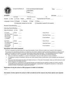 Consent for/Notice of Evaluation, Page 1