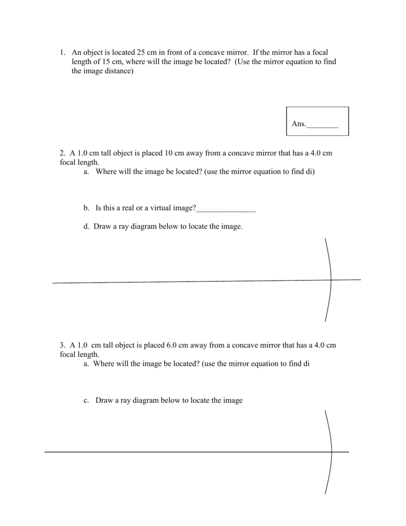 worksheet Ray Diagrams For Plane Mirrors Worksheet concave mirror problems ray diagrams