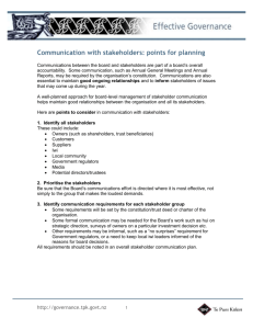 Communication with stakeholders: Points for planning