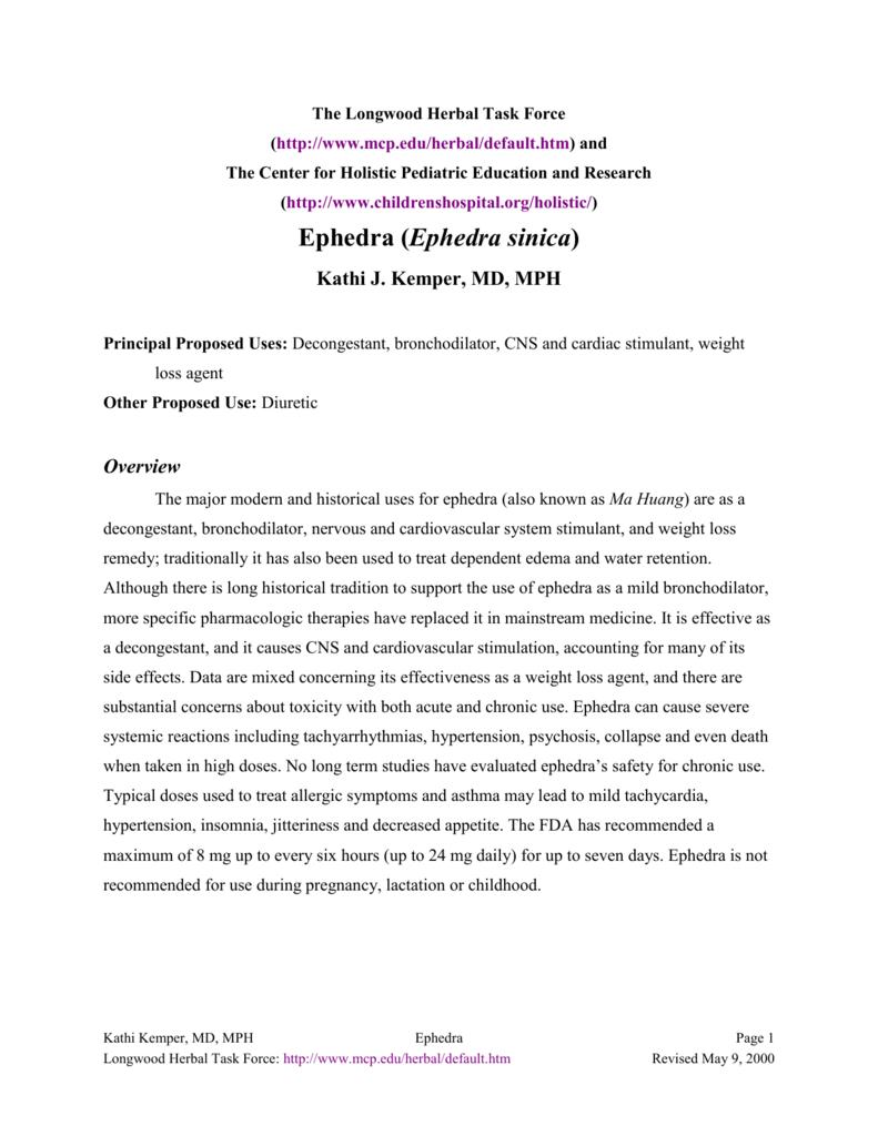 Ephedra - Longwood Herbal Task Force