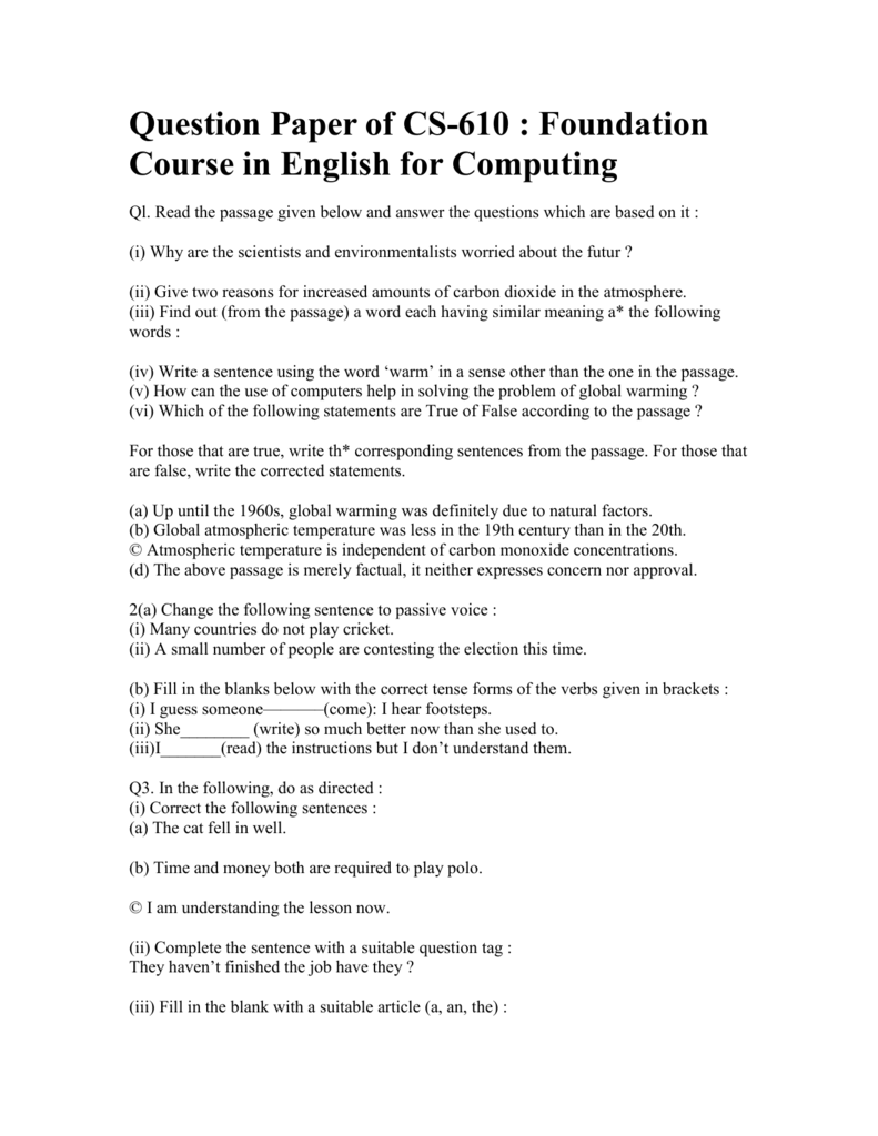 Question Paper Of Cs 610 Foundation Course In English For