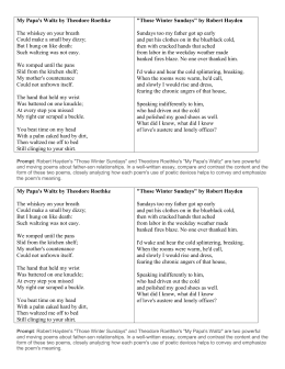 by essay papas roethke theodore waltz Writing poetry humor writing inspirational writing creative writing personal essays papa's waltz by theodore roethke papa's waltz is one of theodore roethke.