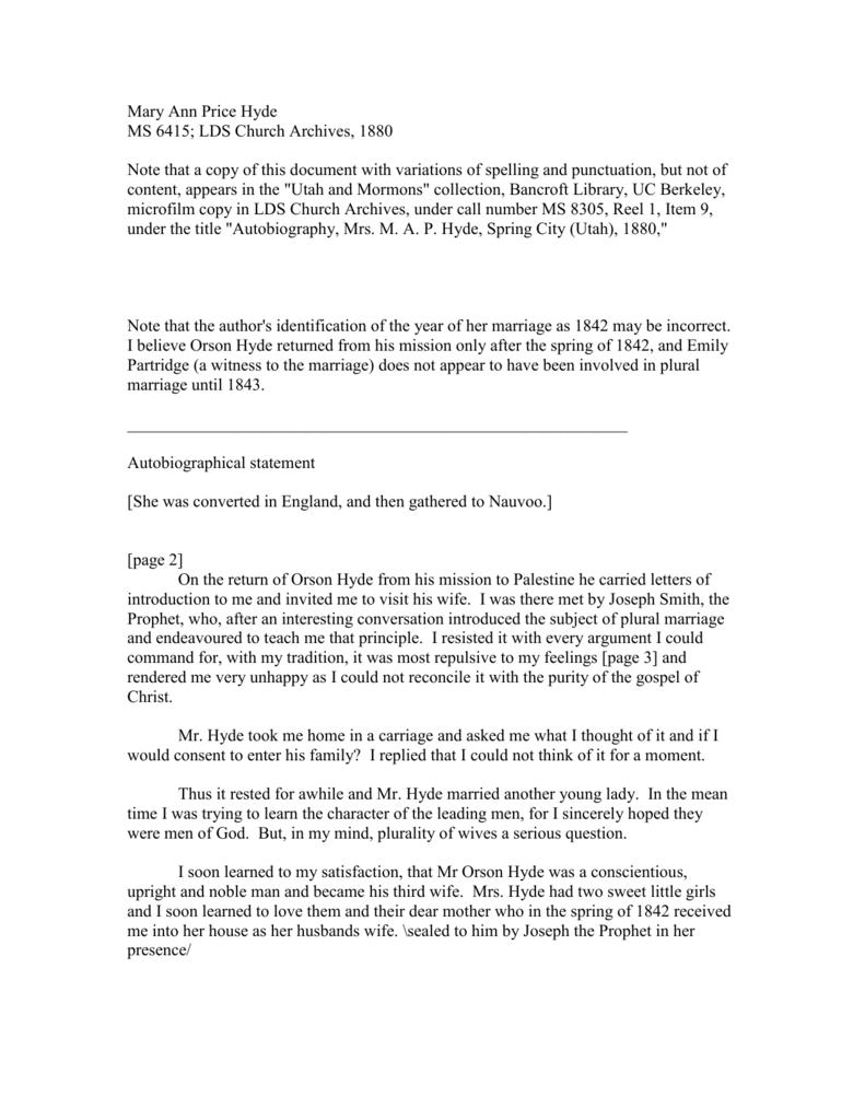 JS0484 - Mormon Polygamy Documents