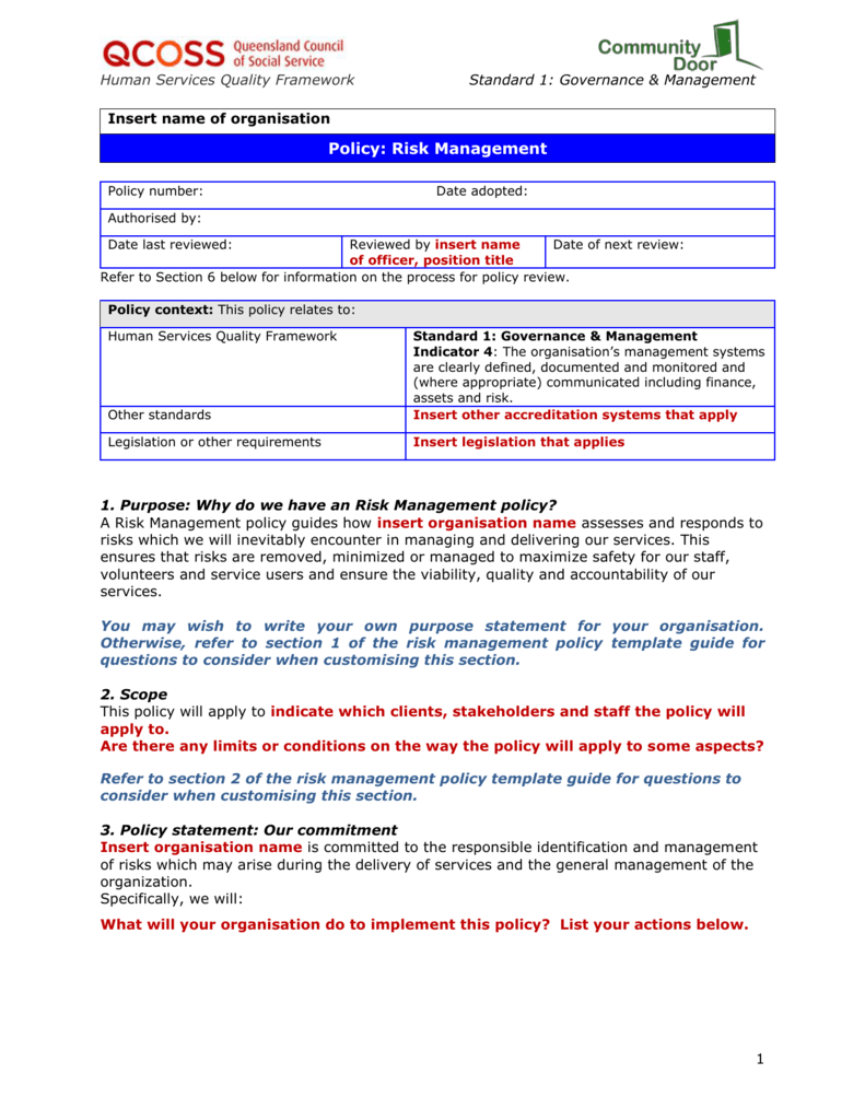 110 Risk Management Policy Template