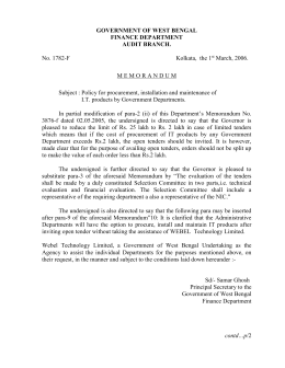 memorandum - Finance Department