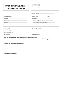 pain management referral form - Derby Hospitals NHS Foundation