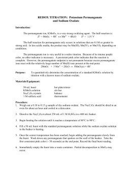 Redox Titration: Potassium Permanganate and Sodium Oxalate