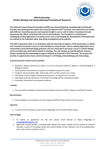 PhD Scholarship Cellular Biology and Immunotherapy/Translational