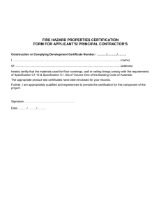 Fire hazard properties certification form