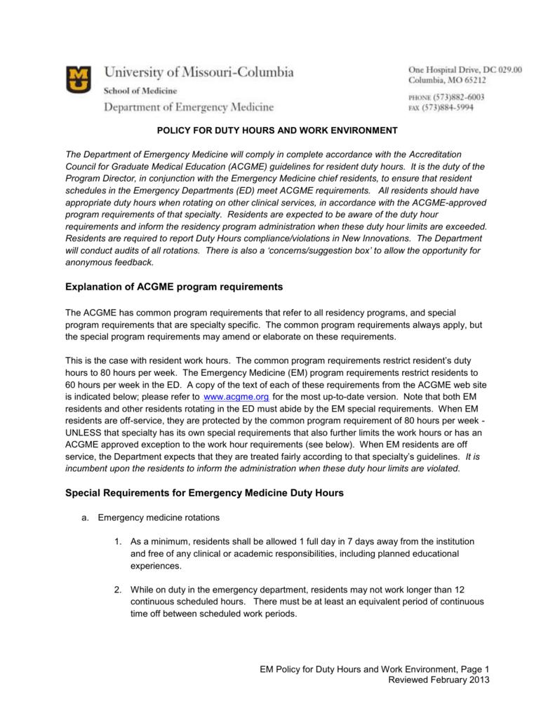 EM Duty Hours Work Enivornment Policy