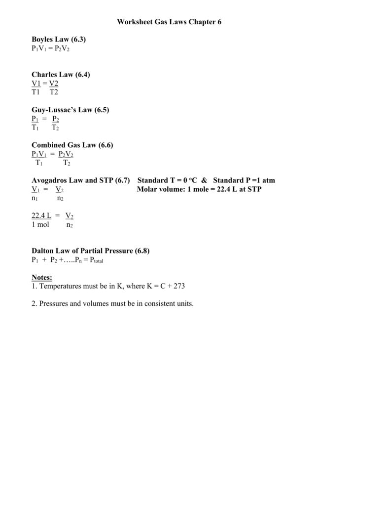 2 Worksheet Gas Laws Chapter 18 – Daltons Law Worksheet