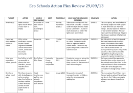 Eco Schools Action Plan Review 29/09/13 TARGET ACTION WHO