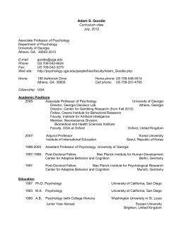 CURRICULUM VITAE - The Department of Psychology
