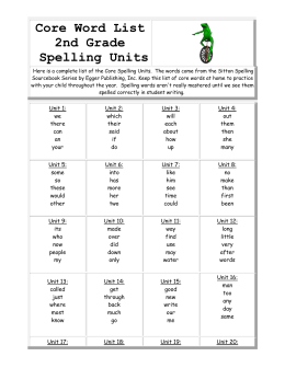 Core Word List2nd Grade Spelling Units