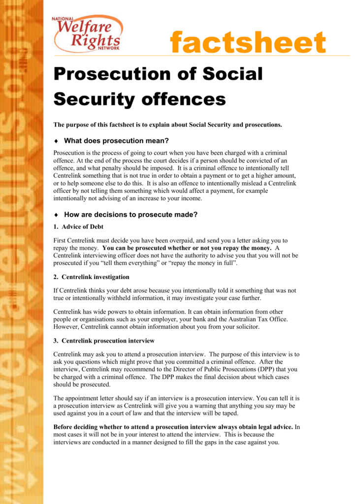 Prosecution of Social Security offences