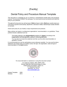 Dental Policy and Procedure Manual
