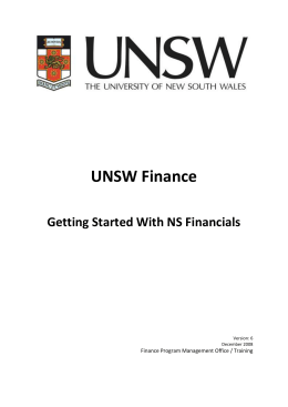 Getting Started With NS Financials Info Pack