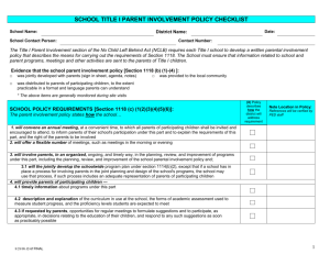 Title I School Parent Involvement Policy Checklist