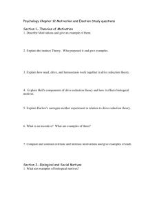 Psychology Chapter 12 Motivation and Emotion Study questions