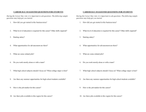 CAREER DAY SUGGESTED QUESTIONS FOR STUDENTS