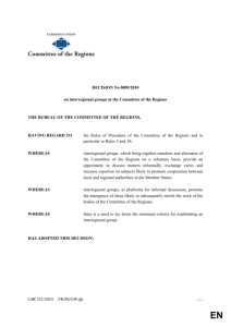 Decision 0009 - interregional groups at the Committee of the Regions