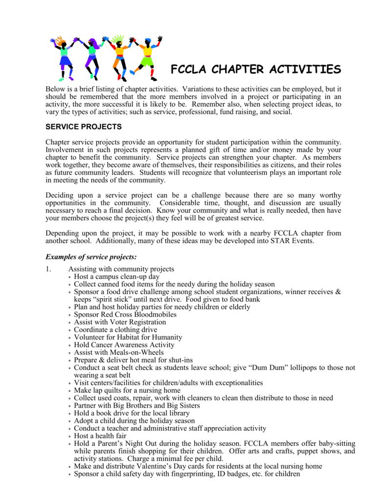 fccla chapter activities