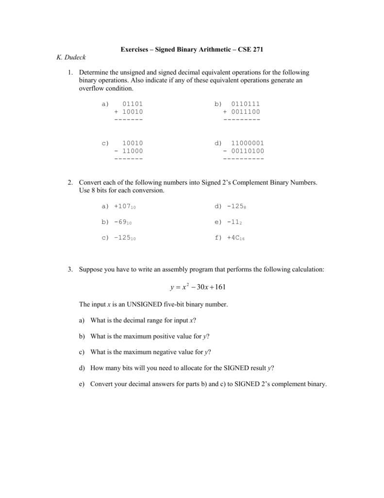 Exercises – Signed Binary Arithmetic – CSE 271
