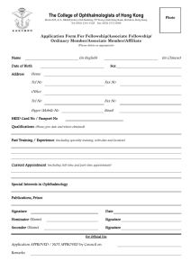 Application Form For Fellowship/Associate Fellowship
