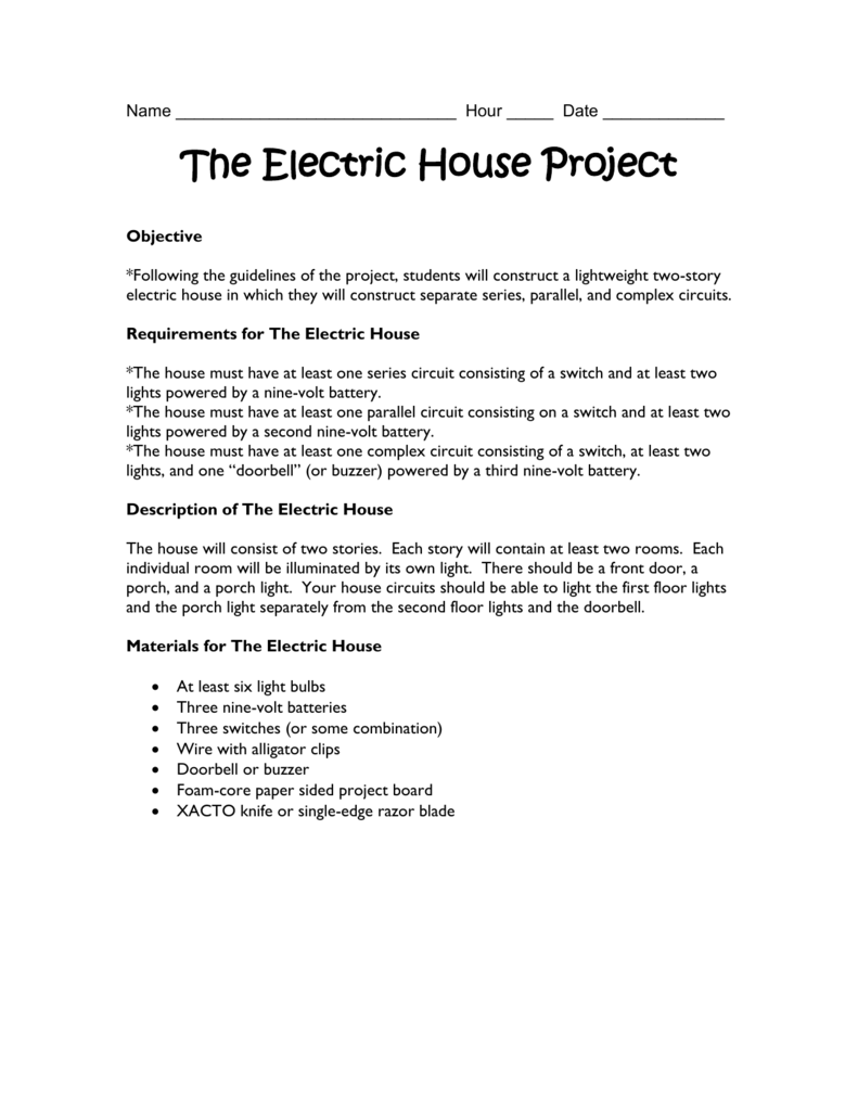 Student Handout For The Electric House Project Wiring A Light With Three Switches