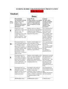 SCORING RUBRIC FOR POWER POINT PRESENTATION
