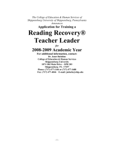Reading Recovery® - My Webspace files