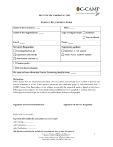 Service Requisition form - C-CAMP