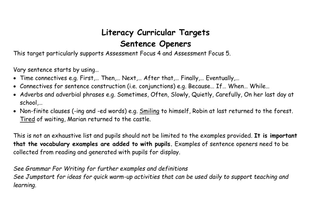 Sentence Openers