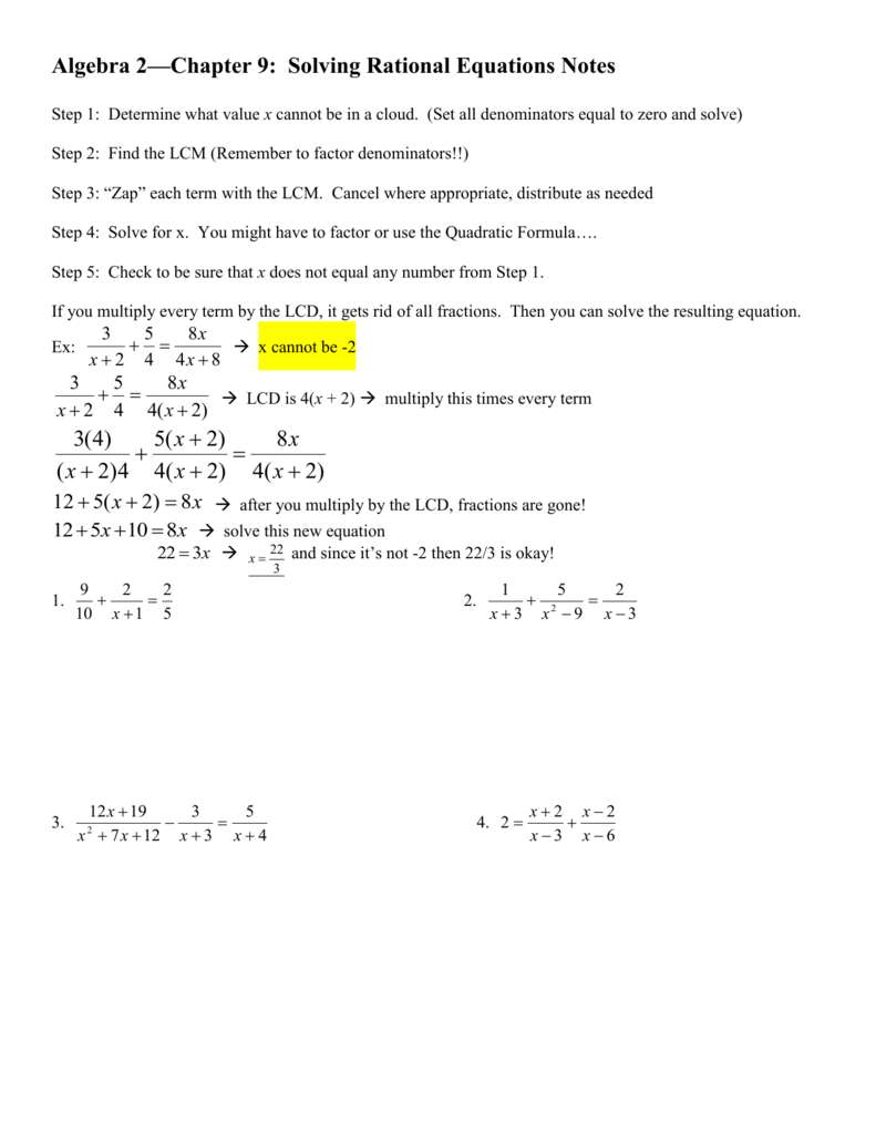 Algebra 2 Chapter 9 Solving Rational Equations Notes