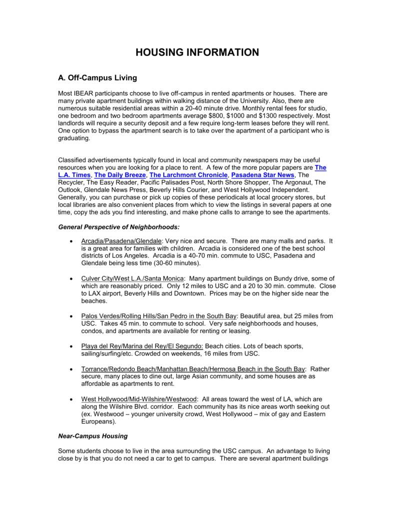 housing information - USC Marshall - University of Southern