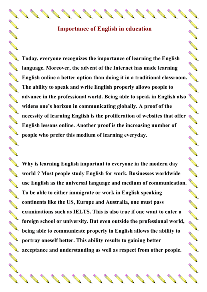 role of english in modern education