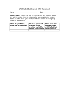 Wildlife Habitat Project: KWL Worksheet