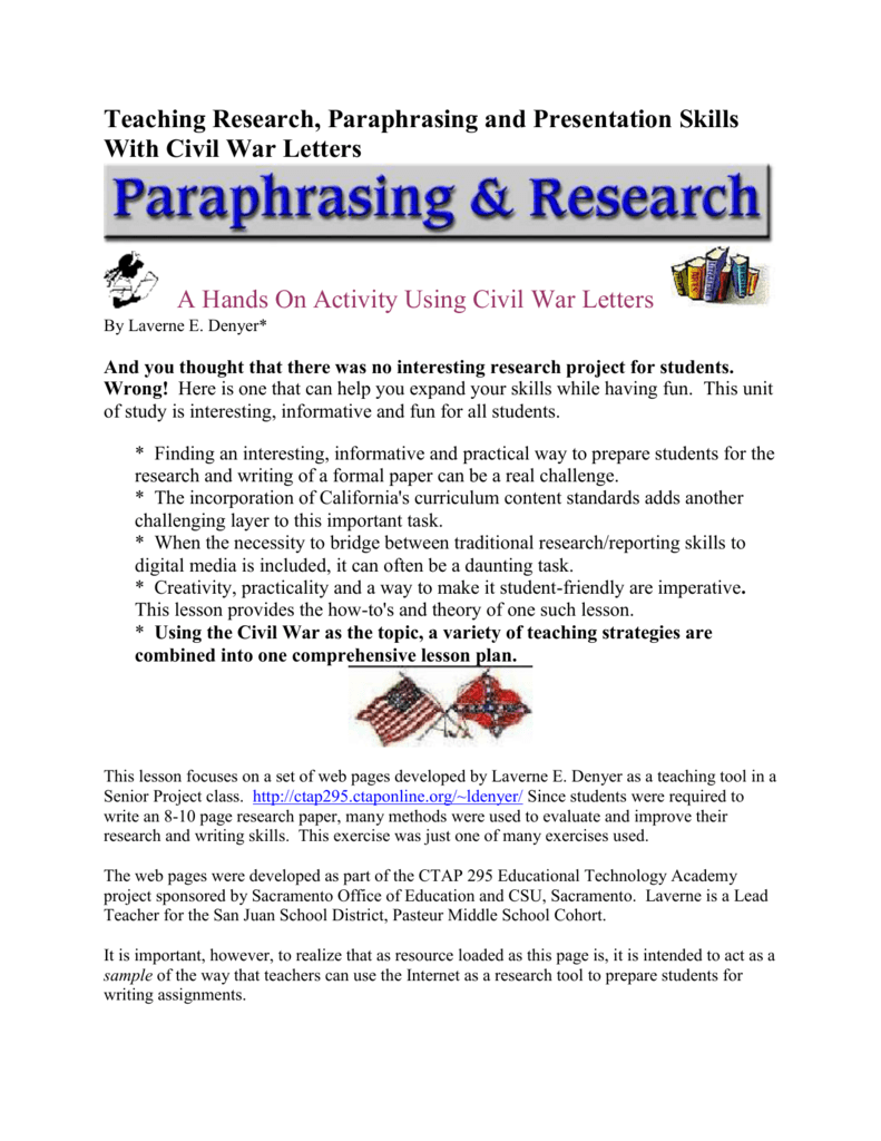 Teaching Research, Paraphrasing and Presentation Skills With