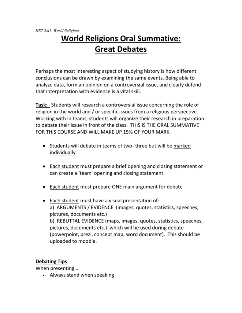 WORLD RELIGIONS Oral Exam Instructions - World religion concept map