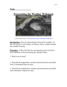 Forecasting the Weather Webquest