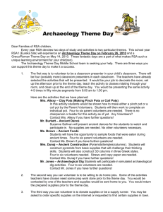 Archaeology Theme Day - Redding School of the Arts