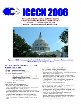 ICCCN`06 Technical Program Oct. 9 - 11, 2006
