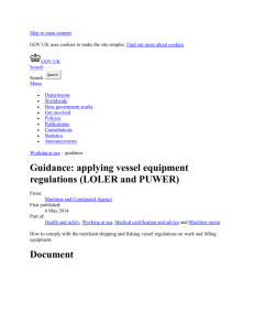 Guidance: applying vessel equipment regulations (LOLER and