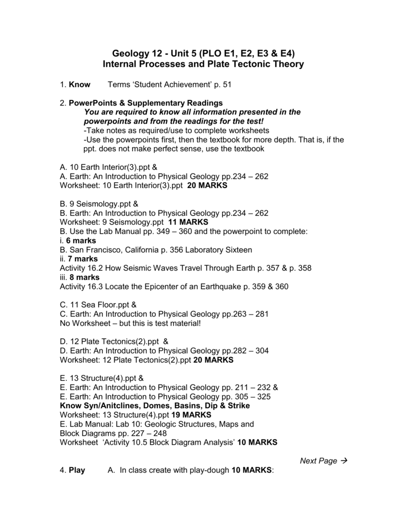 Unit5 InternalProcesses PLO EsApril30 – Geology Worksheets