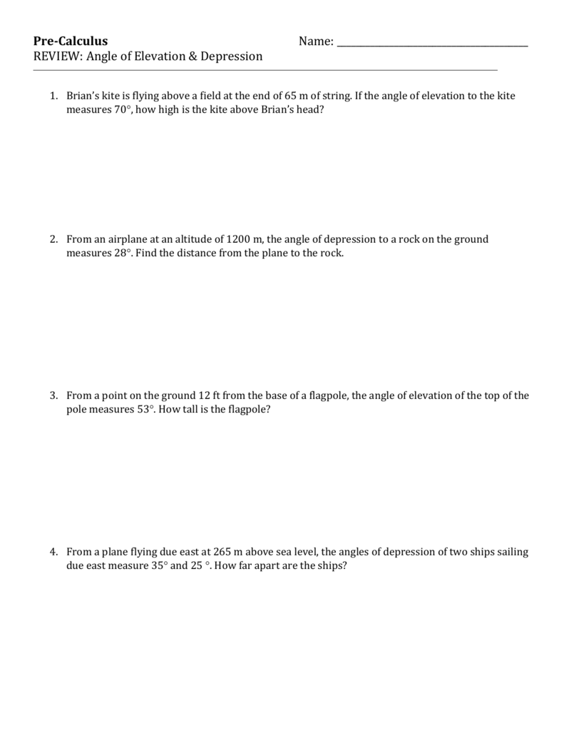 Worksheets Angle Of Elevation And Depression Worksheet angle of elevation depression trig worksheet 4