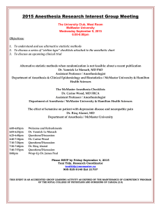 2009 Anesthesia Research Retreat Agenda