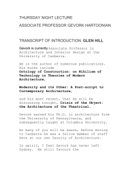 Introduction for Associate Professor Gevork Hartoonian