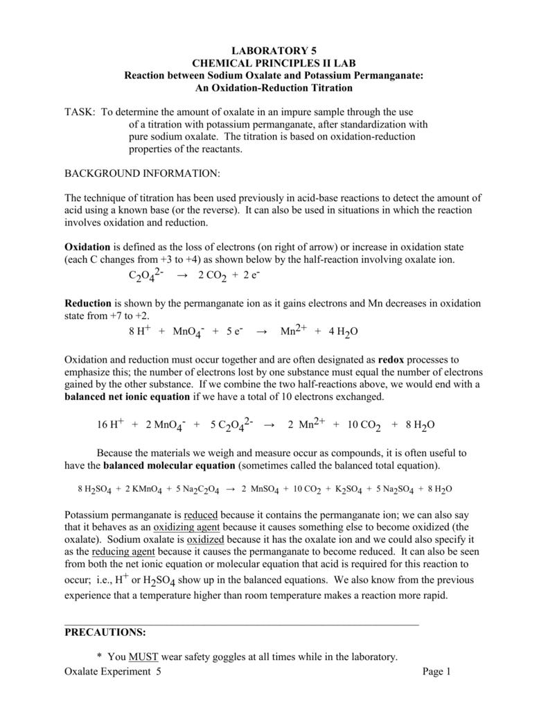 Permanganate Oxalate Titration