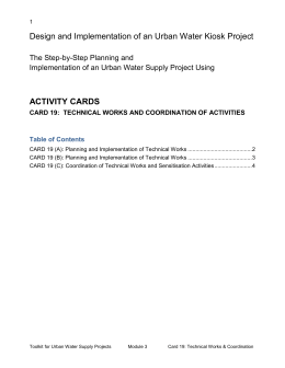 CARD 19 (A): Planning and Implementation of Technical Works