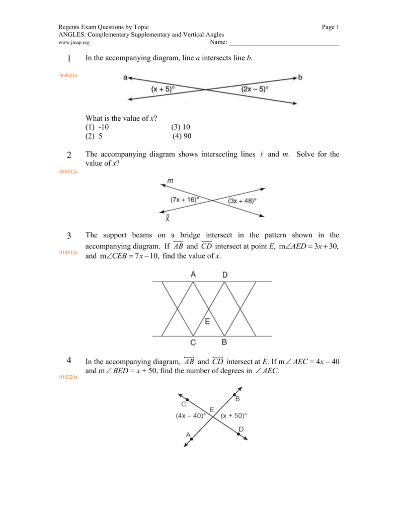 Complementary and supplementary angles worksheet 1